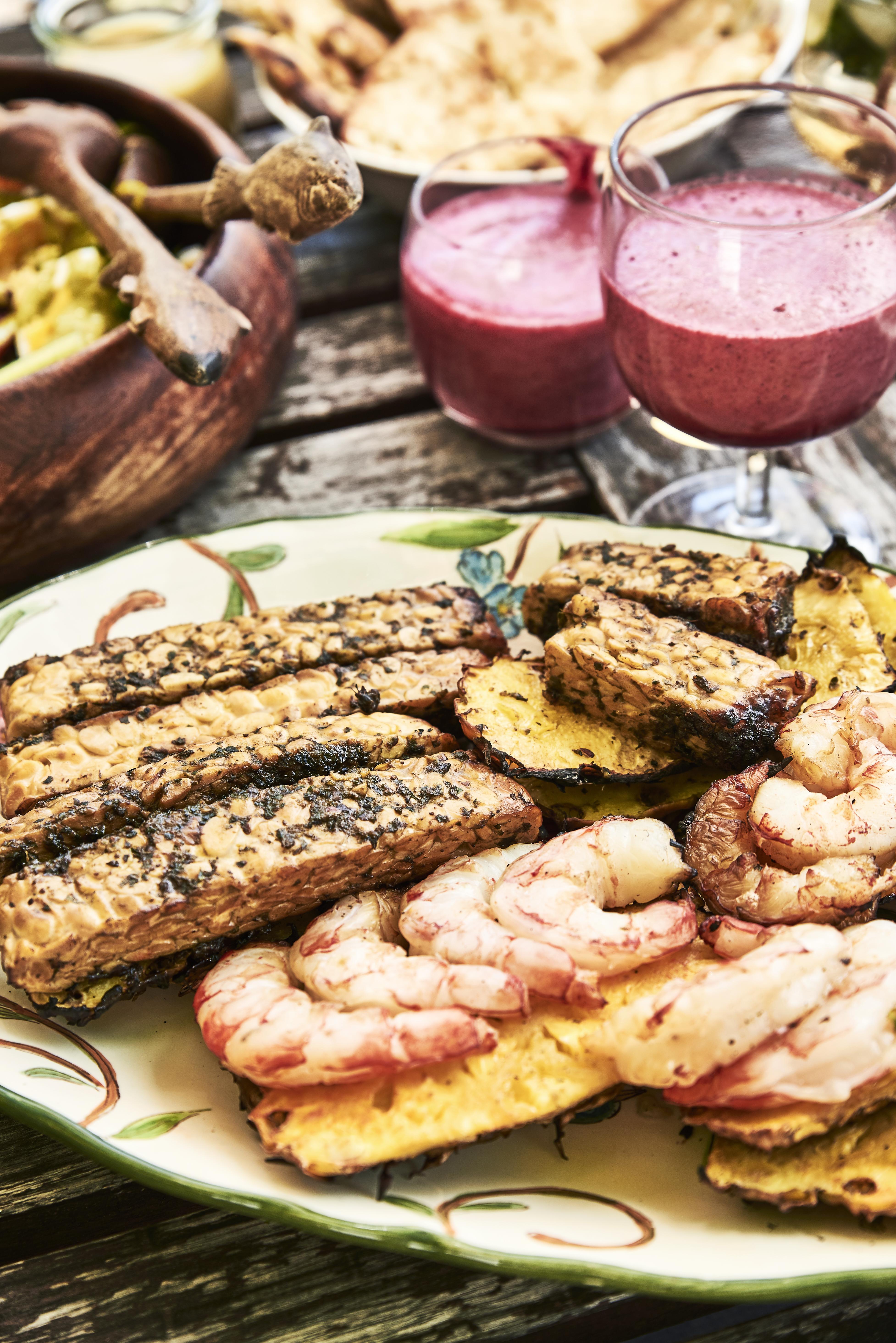 Tempeh et crevettes au barbecue