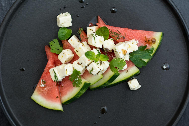 Feta, fines herbes et melon d'eau