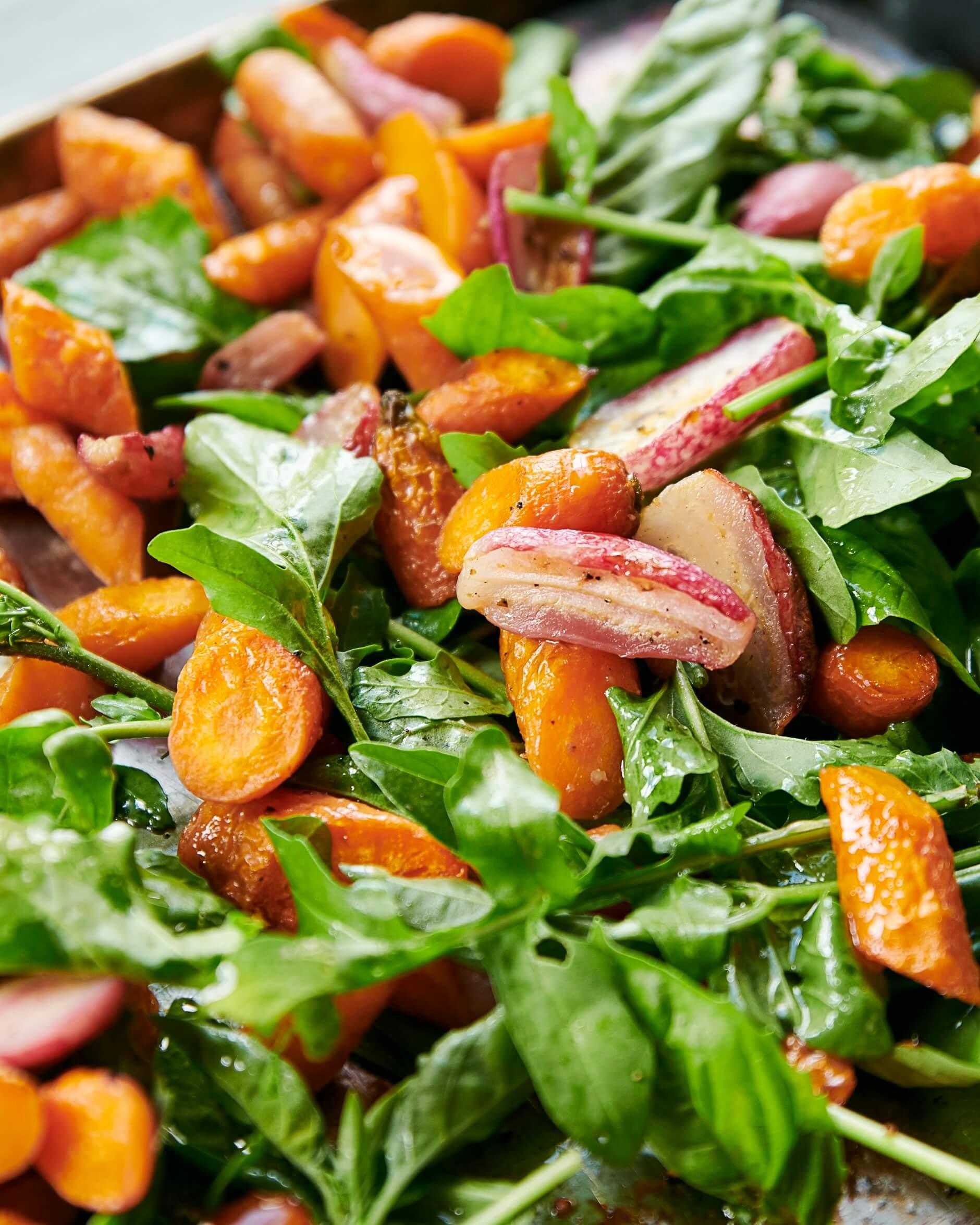 Salade tiède de légumes flétris